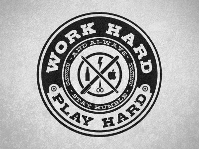 Work Hard, Play Hard logo typography apple retro scissors beer texture black and white stamp seal badge