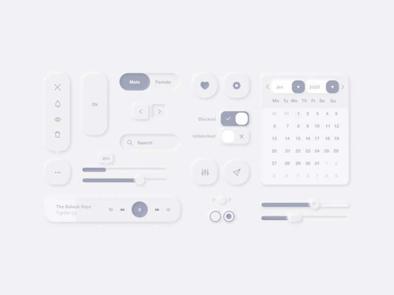 Neumorphism UI Elements dribbble webdesigner neumorphism app mobile behance digitaldesign userinterface ux ui interface