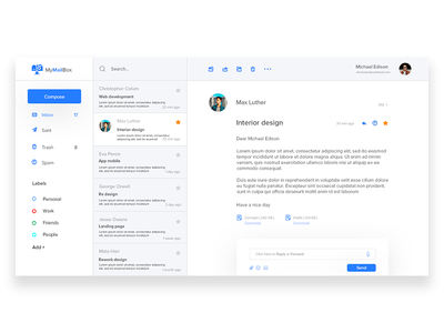 MyMailBox webdesigner ux userinterface ui mobile interface dribbble digitaldesign behance application app