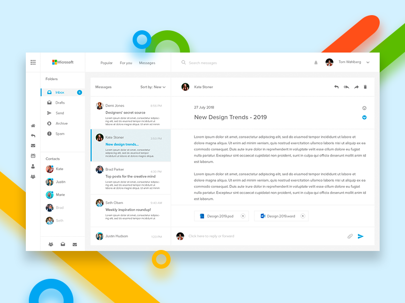 Microsoft Outlook application userinterface behance ux ui interface app digitaldesign