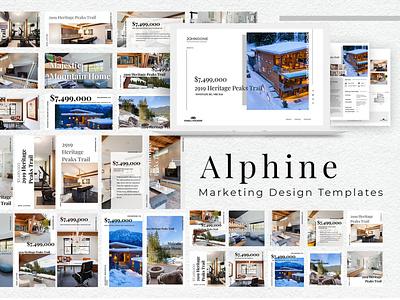 Alphine Marketing Design Templates social media templates social media pack landing page landing page design marketing social media design social media real estate clean web design