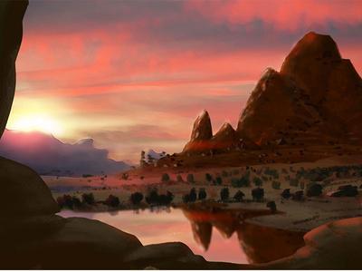 Savanna Sunset digital painting wip art sunset