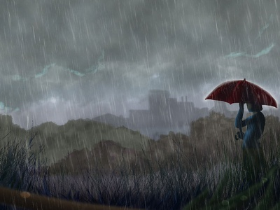 Sensei Rain practice digital painting rain
