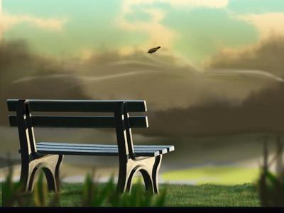 Sailing Leaf photoshop digital painting sunset green blue park sky leaf bench