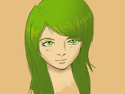 Practice Portrait Drawing artgerm sketch green lady girl