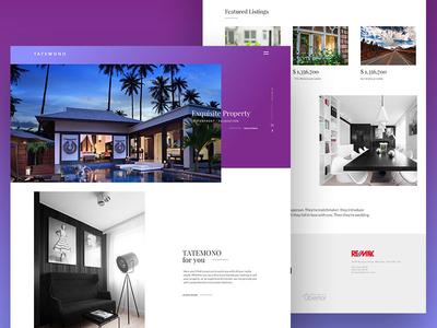 Tatemono - Ubertor Real Estate Theme web design real estate minimal clean gradient purple