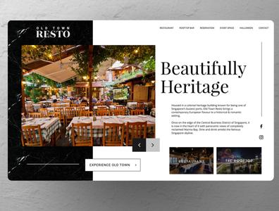 Old Restaurant Website Concept ui ux branding design blue real estate minimal clean logo web design