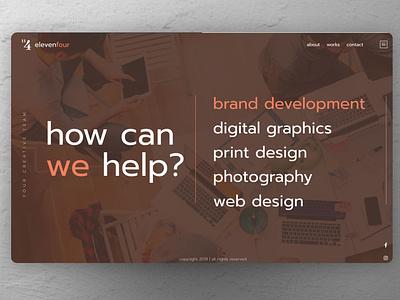 ElevenFour Creatives Website creative agency home screen home page homepage design homepage ux ui branding design minimal clean logo web design