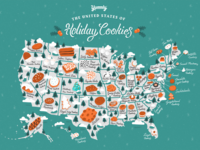 Yummly - The United States of Holiday Cookies procreate christmas cookies infographic map illustration