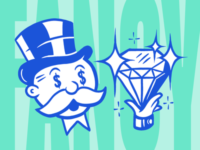 Inktober - Fancy ocean mint green blue procreate diamond monopoly man fancy inktober