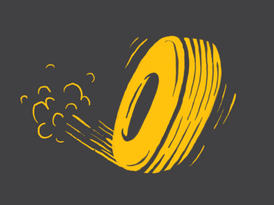 #Typehue 14: O fast type art illustration procreate gray grey yellow tire lettering typehue type