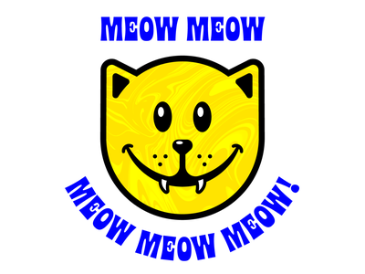 MEOW MEOW blimey blue yellow smiley face cat vector