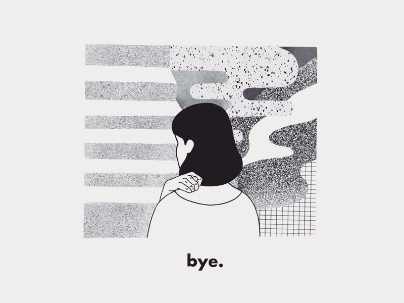 Bye hand girl minimal 2019 procreate brush texture black and white art illustration
