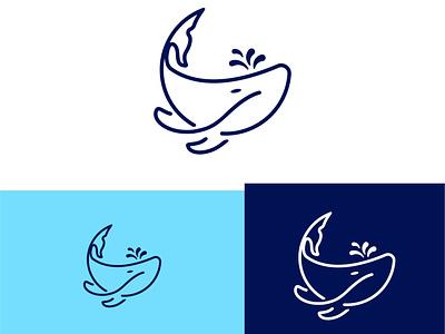 Whale Fish Logo sealogo sea water waterlogo fish fishlogo emojilogo emoji graphic design branding flat logo character vector illustration icon design flatlogo whalelogo whale