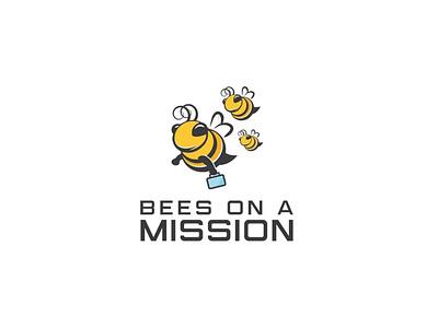 Bees on A Mission mascot mascot logo simple logo funny logo cute logo icon flat logo character illustration vector design honey bee logo mission logo honey bee bee logo bees on a mission