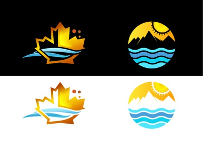 Autumn and summer Icon wave leaf beach sea illustration vector design icon badge winter summer autumn
