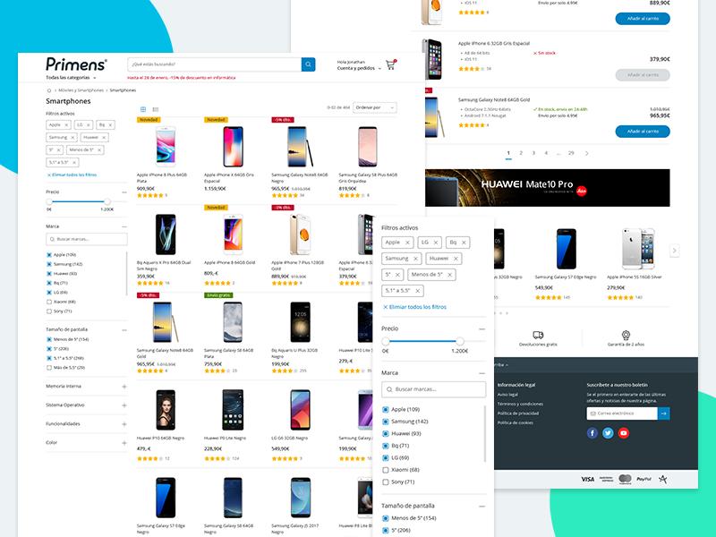 Primens Products Desktop shopping tech interface product responsive webdesign ux ui e-commerce