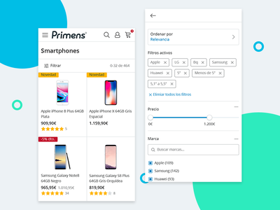 Primens Products Mobile shopping mobile e-commerce ui ux webdesign responsive product interface tech