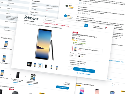 Primens Product Page webdesign ux ui tech shopping responsive product interface e-commerce