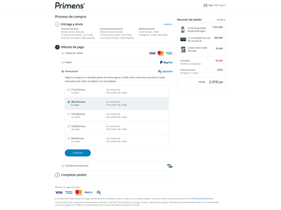 Primens Payment Check Out e-commerce interface product responsive shopping tech ui ux webdesign mobile
