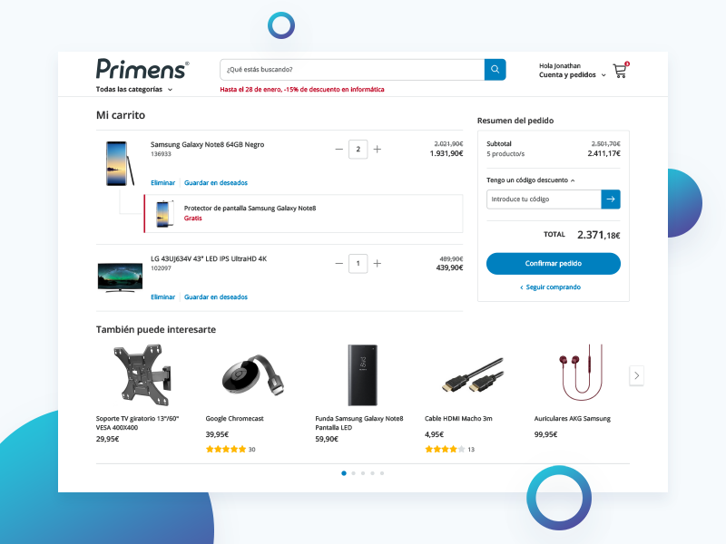 Primens Cart Chek-out mobile webdesign ux ui tech shopping responsive product interface e-commerce