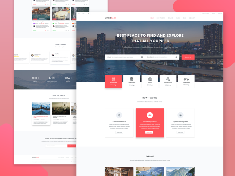 listrace free directory template by samsuzzaman raju dribbble
