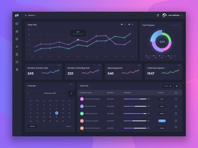 Dark Dashboard UI Exploration