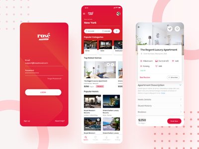 Hotel and room Booking app exploration pattern login signin mobile details screen home screen landing page app room booking hotel booking exploration minimal android app ios mobile app