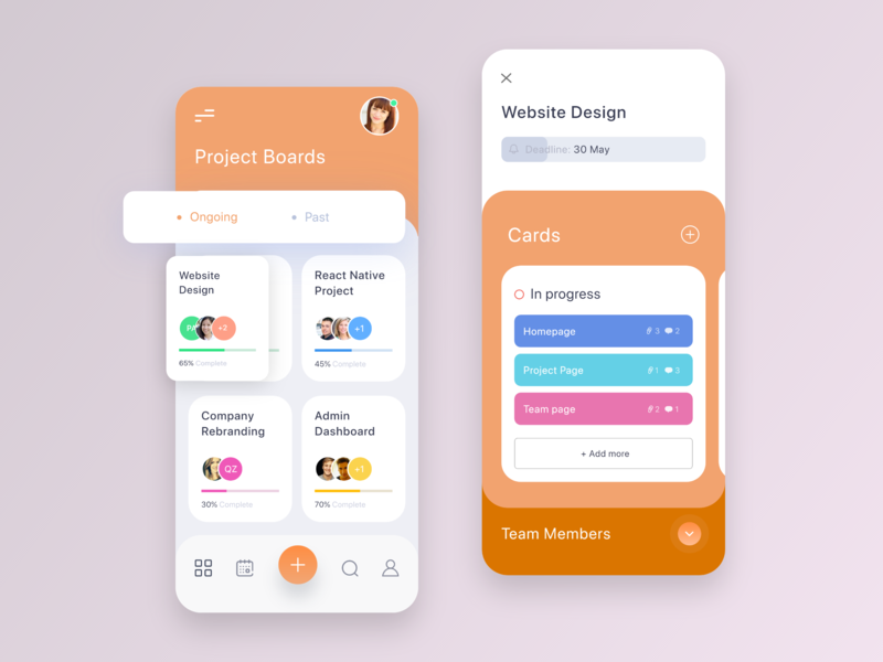 Project Management App Concept ux ui task management task schedule mobile ui mobile apps iphonex iphone app card cards management system management tool management app management project management project app design app
