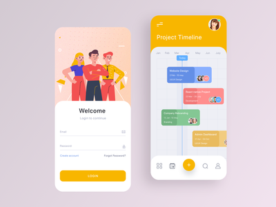 Project Management App Concept 2 app iphone app android iphonex uiux ui mobile uiux mobile ui project timeline timeline log in sign in task management task management system management tool management app management project management project