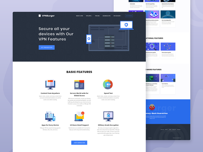 Vpn Features Landing page uxui ux ui features vpn design illustration landing page website