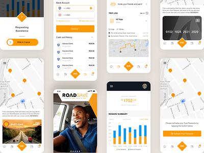 Road safe app refer friend reward design minimal ui dashboard wallet payment navigation map creditcard ios app search fuel fuelstation roadsafe app design