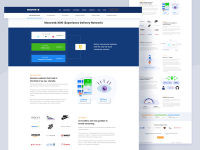Moovweb product page ux typography branding illustration ui website illustrations features landing page design landing page product page