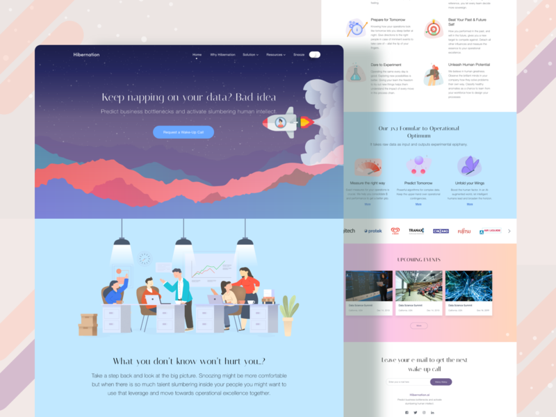 Data management and analysis website landing page ui ux design pastel colors colorful user experience user interface hibernating data data management data illustration minimal landing page website