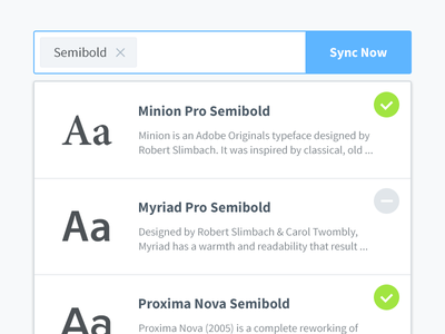 Search fonts list clean ui button badge sync semibold tag font form input search