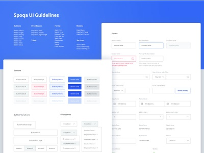 Spoqa UI Kit psd download kit guidelines clean modal table dropdown input form button ui