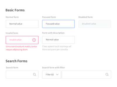 Form Style kit guidelines clean dropdown input form button ui