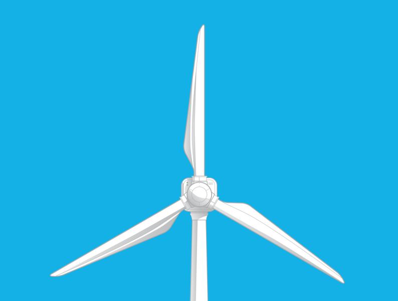 Wind turbine icon minimal turbine eco lines flat design