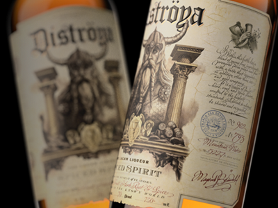 Distroya Spiced Spirit liquor label spirit package design bottle whiskey amber viking old