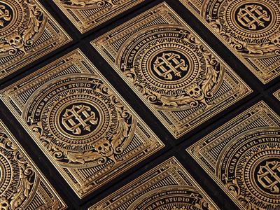 Studio Cards business card detail gold foil skull branding logo monogram floral emboss