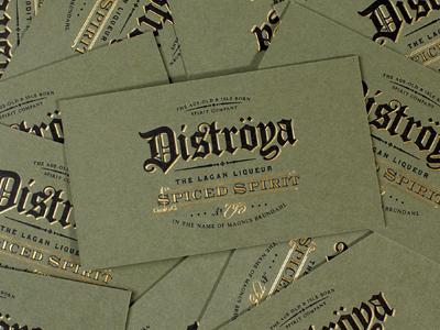Distroya business cards liquor medieval gold foil business cards branding logo lock up seal letterpress duplex olive