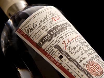Old Town Distilling Co. label gin moonshine whiskey letterpress stamp calligrapher lettering branding limited old town grid