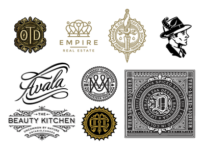 Logo Lounge 9 Book logo mark monogram badge seal crest type script face film snake ornate