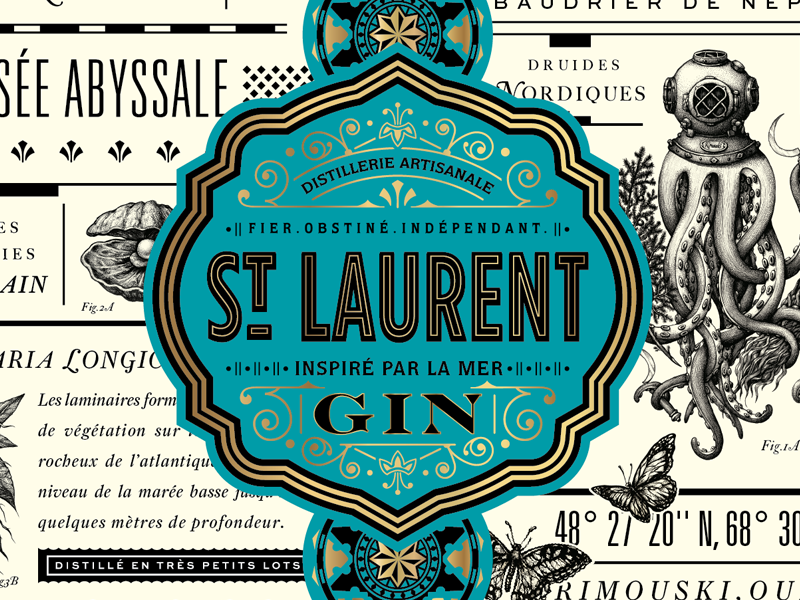 St. Laurent Gin 'sneak peek' ornate jules verne odyssey modern typography packaging design gin label liquor