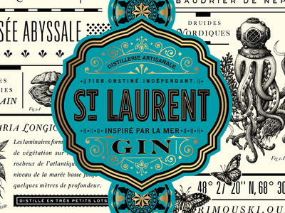 St. Laurent Gin 'sneak peek' ornate jules verne odyssey modern typography packaging design gin label liquor