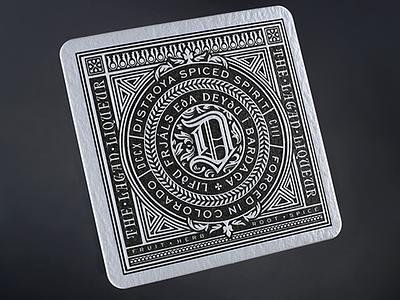 Distroya Spiced Spirit  'The Big D' design branding print bookplate ornate nordic stamp seal badge lock up design letter press