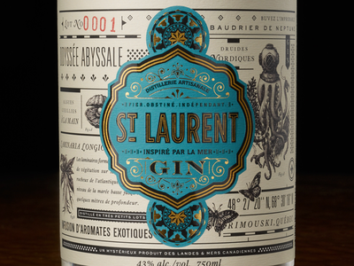 St.Laurent Gin packaging liquor spirit label design moonshine lettering blue gold texture alcohol package design