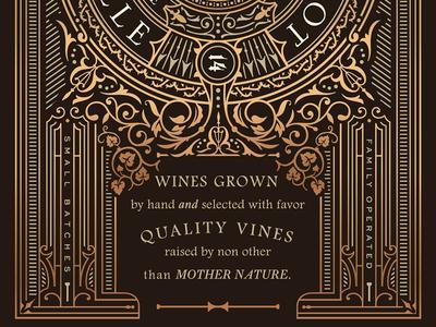 Sparkling Rose label nature ornate spirit packaging package design brown foil copper wine label