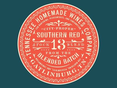 Southern Red stencil southern badge detail type label wine
