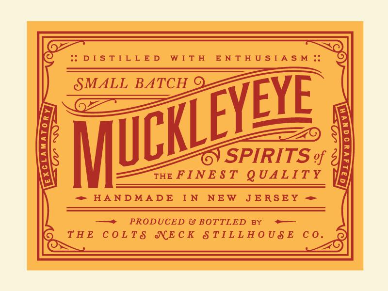 MuckleyEye! logo jazzed ornate lettering type business card liquor spirits